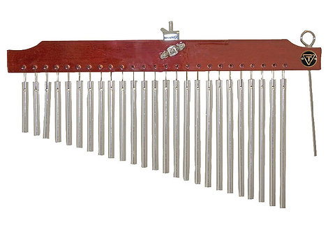25 Chrome Chimes with Brown Finish Wood Bar