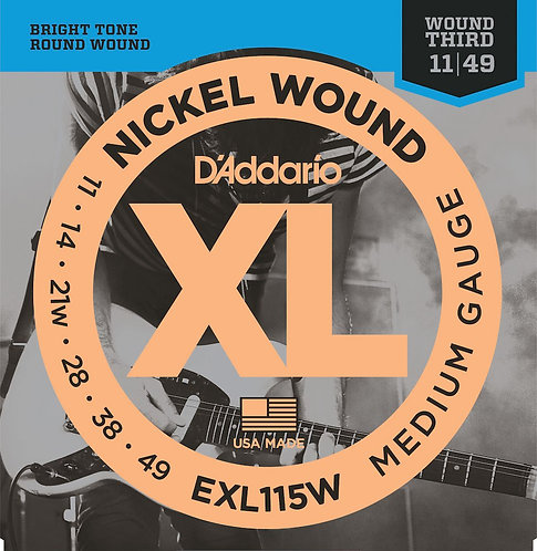 EXL115w Nickel Wound Electric Guitar Strings Med/Blues-Jazz Rock Wound 3rd