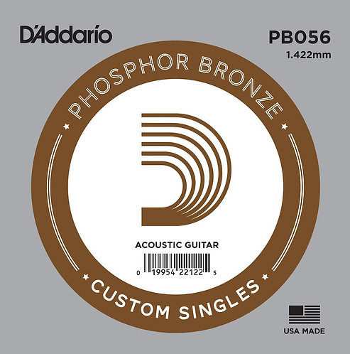 D'Addario PB056 Phosphor Bronze Wound Acoustic Guitar SGL String .056