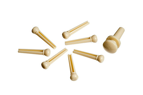 D'Addario Injected Molded Bridge Pins w/End Pin Set of 7 Ivory