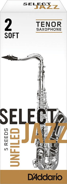 D'Addario Select Jazz Unfiled Tenor Saxophone Reeds Strength 2 Soft 5-pack