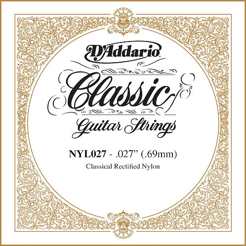 D'Addario NYL027 Rectified Nylon Classical Guitar SGL String .027
