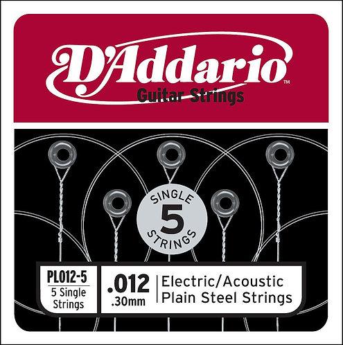 D'Addario PL012-5 Plain Steel Guitar SGL String .012 5-pack