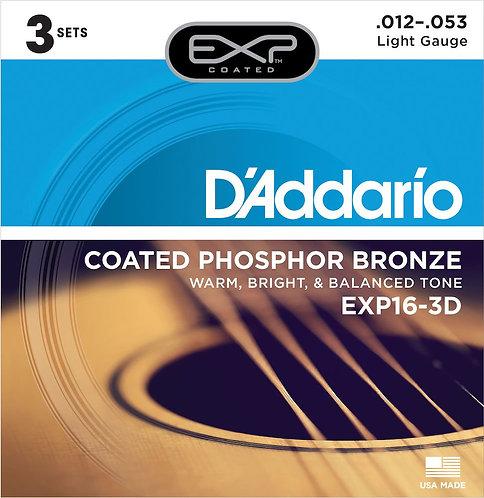 D'Addario EXP16-3D Coated Phosphor Bronze Acoustic Guitar Strings Light 12-53 3
