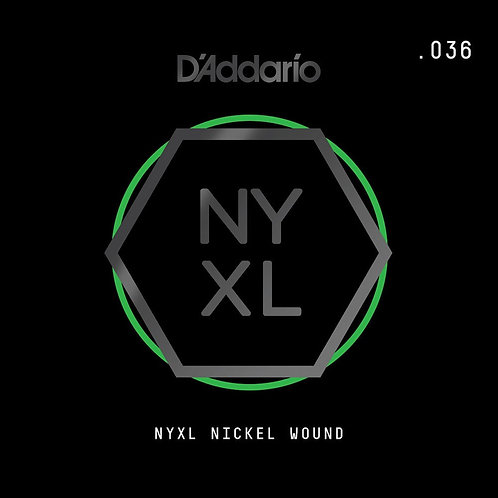 D'Addario NYNW036 NYXL Nickel Wound Electric Guitar SGL String .036