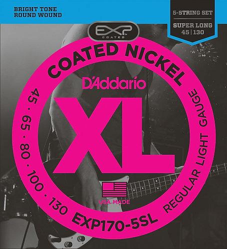 D'Addario EXP170-5SL Coated 5-String Bass Guitar Strings Light 45-130 Super Long