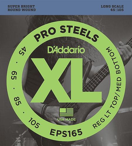 D'Addario EPS165 ProSteels Bass Guitar Strings Custom Light 45-105 Long Scale