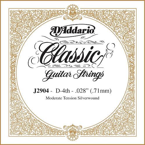 D'Addario J2904 Classics Rectified Classical Guitar SGL String Moderate Tension
