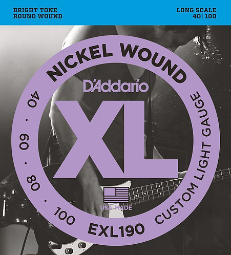 D'Addario EXL190 Nickel Wound Bass Guitar Strings Custom Light 40-100 Long Scale