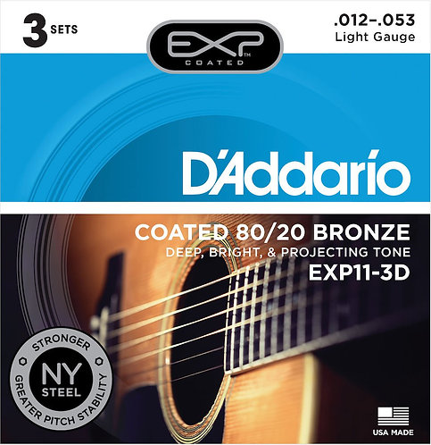 D'Addario EXP11-3D Coated Acoustic Guitar Strings 80/20 Light 12-53 3 Sets