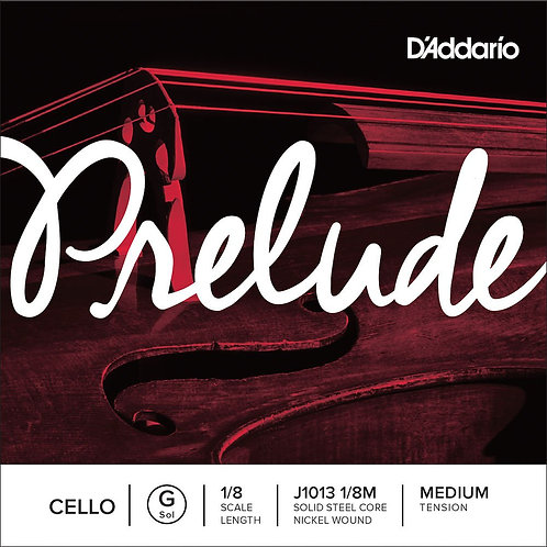 D'Addario Prelude Cello SGL G String 1/8 Scale Med Tension