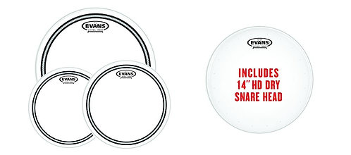 """Evans EC2S Clear Fusion Pack (10"""" 12"""" 14"""") w/14"""" HD Dry Snare Batter"""
