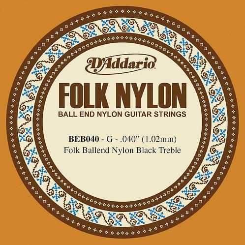 D'Addario BEB040 Folk Nylon Guitar SGL String Black Nylon Ball End .040