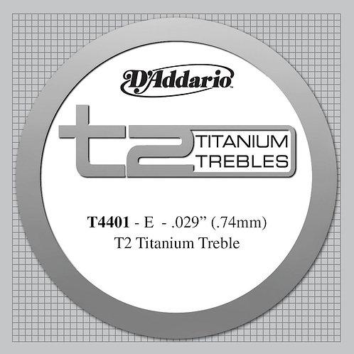D'Addario T2 Titanium Treble Classical Guitar SGL String X-Hard Tension First St