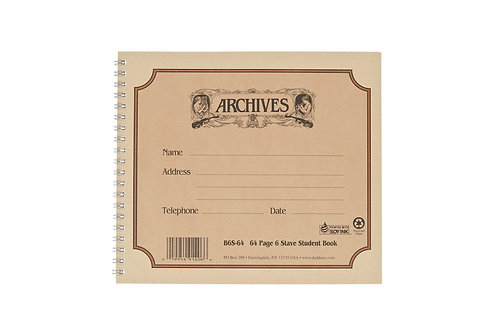 Archives Spiral Bound Manuscript Paper Book 6 Stave 64 Pages