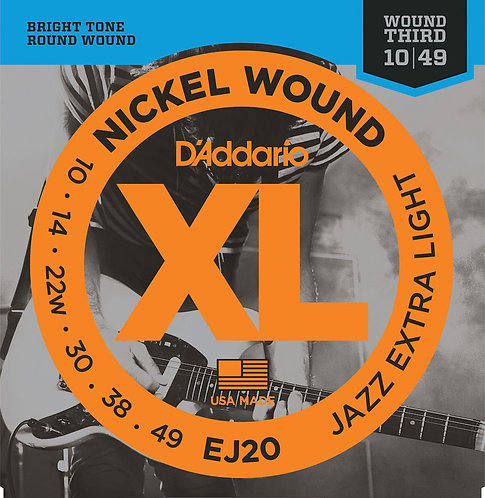 D'Addario EJ20 Nickel Wound Electric Guitar Strings Jazz X Light 10-49