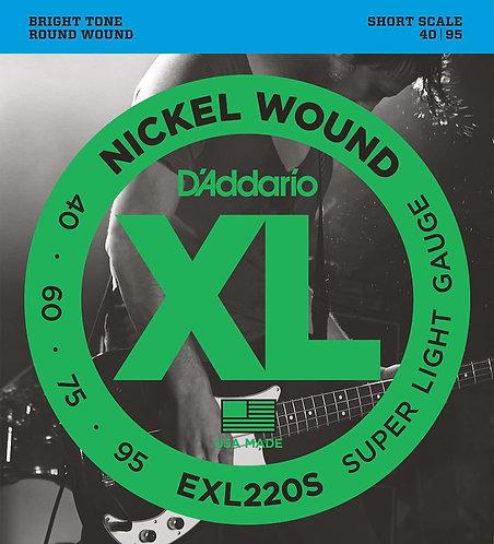 D'Addario EXL220S Nickel Wound Bass Guitar Strings Super Light 40-95 Short  Scal