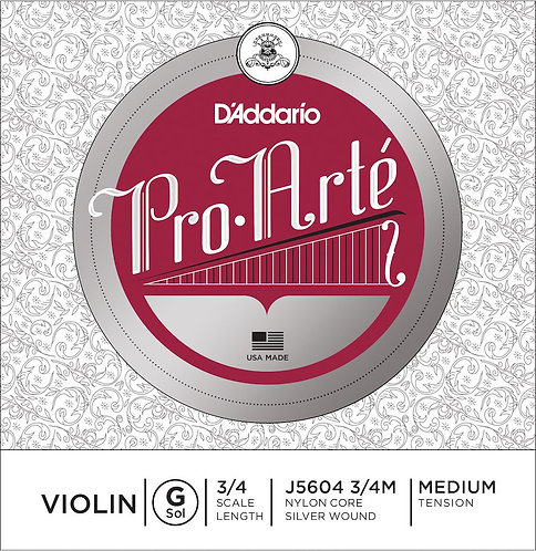 D'Addario Pro-Arte Violin SGL G String 3/4 Scale Med Tension