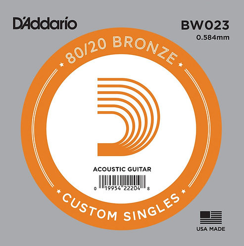 D'Addario BW023 Bronze Wound Acoustic Guitar SGL String .023