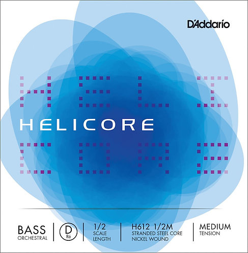 D'Addario Helicore Orchestral Bass SGL D String 1/2 Scale Med Tension