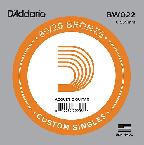 D'Addario BW022 Bronze Wound Acoustic Guitar SGL String .022