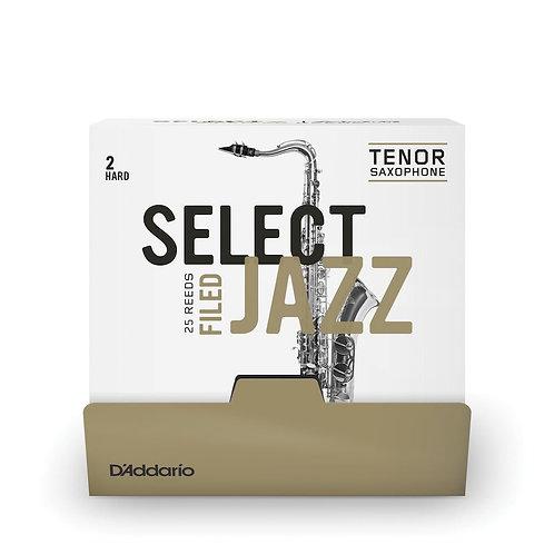 D'Addario Select Jazz Filed Tenor Saxophone Reeds Strength 2 Hard 25 Box