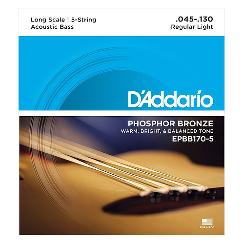 D'Addario EPBB170-5 Phosphor Bronze 5-String Acoustic Bass Strings Long Scale
