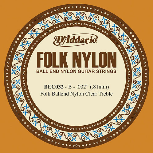 D'Addario BEC032 Folk Nylon Guitar SGL String Clear Nylon Ball End .032