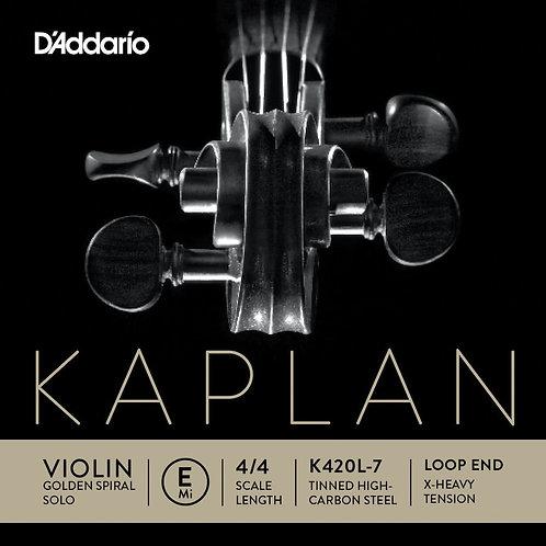 D'Addario Kaplan Loop End Violin SGL E String 4/4 Scale X-Hvy Tension