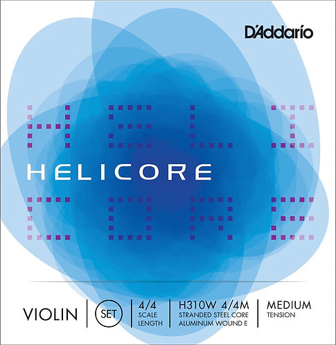 D'Addario Helicore Violin String Set w/Wound E 4/4 Scale Med Tension