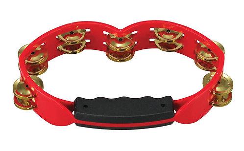 Red Hand Held Plastic Tambourine