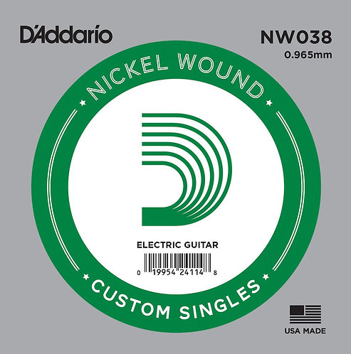 D'Addario NW038 Nickel Wound Electric Guitar SGL String .038