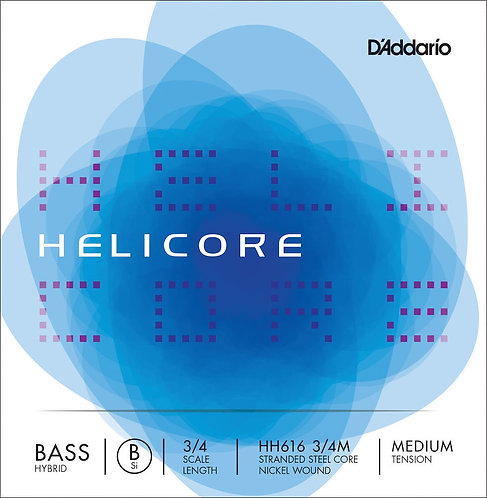 D'Addario Helicore Hybrid Bass SGL Low B String 3/4 Scale Med Tension