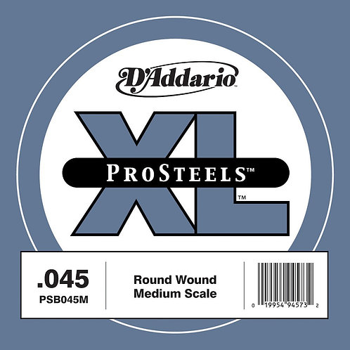 D'Addario PSB045M ProSteels Bass Guitar SGL String Med Scale .045