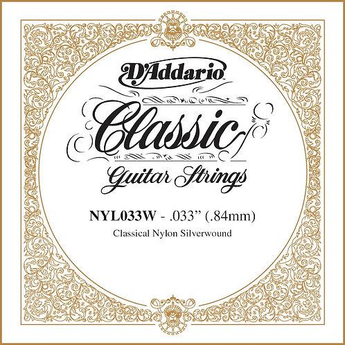 D'Addario NYL033W Silver-plated Copper Classical SGL String .033
