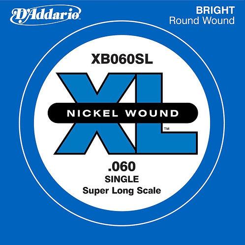 D'Addario XB060SL Nickel Wound Bass Guitar SGL String Super Long .060