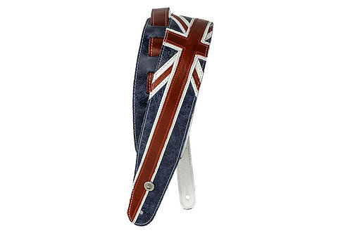 D'Addario Premium Leather Guitar Strap Union Jack