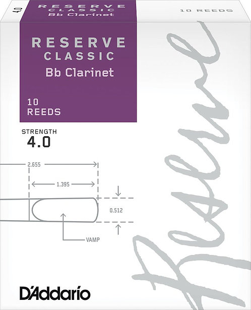 D'Addario Reserve Classic Bb Clarinet Reeds Strength 4.0 10-pack