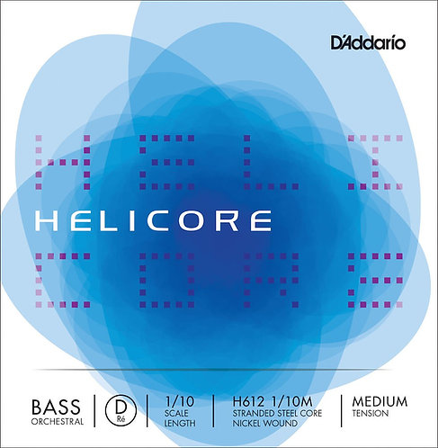 D'Addario Helicore Orchestral Bass SGL D String 1/10 Scale Med Tension