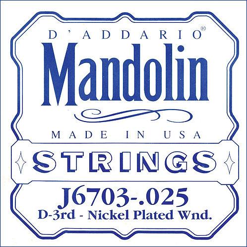 D'Addario J6703 Nickel Mandolin SGL String .025