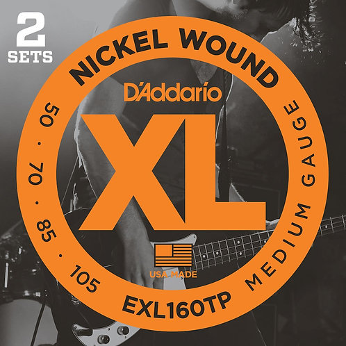 D'Addario EXL160TP Nickel Wound Bass Guitar Strings Med 50-105 2 Sets Long