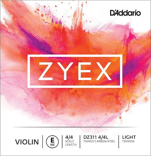 D'Addario Zyex Violin SGL E String 4/4 Scale Light Tension