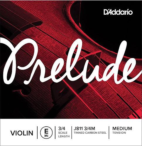D'Addario Prelude Violin SGL E String 3/4 Scale Med Tension