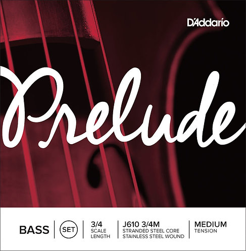 D'Addario Prelude Bass String Set 3/4 Scale Med Tension