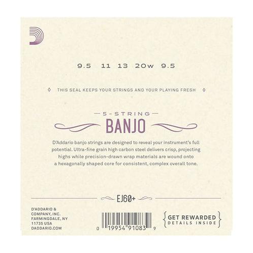 D'Addario EJ60+ 5-String Banjo Strings Nickel Light Plus 9.5-20