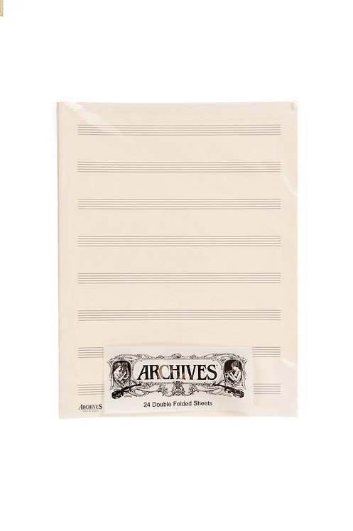 Archives Double-Folded Manuscript Paper Sheets 8 stave 24 Sheets