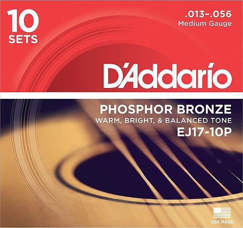 D'Addario EJ17-10P Phosphor Bronze Acoustic Guitar Strings Med 13-56 10 Set