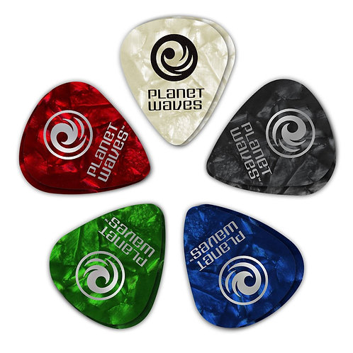 D'Addario Assorted Pearl Celluloid Guitar Picks 10 pack Med