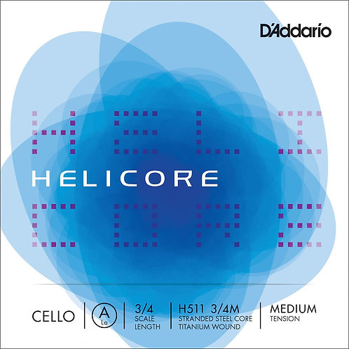 D'Addario Helicore Cello SGL A String 3/4 Scale Med Tension