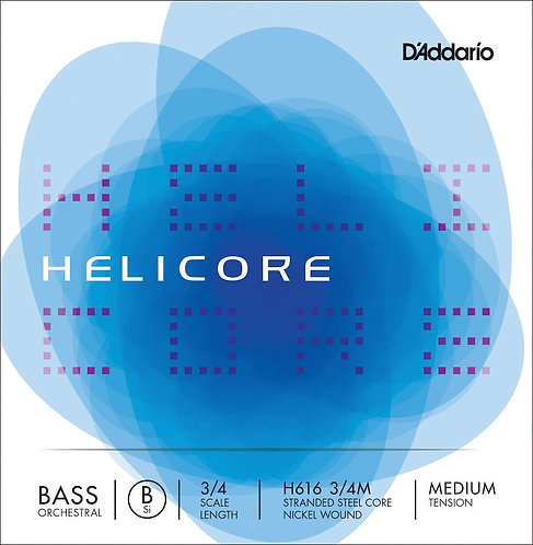 D'Addario Helicore Orchestral Bass SGL Low B String 3/4 Scale Med Tension